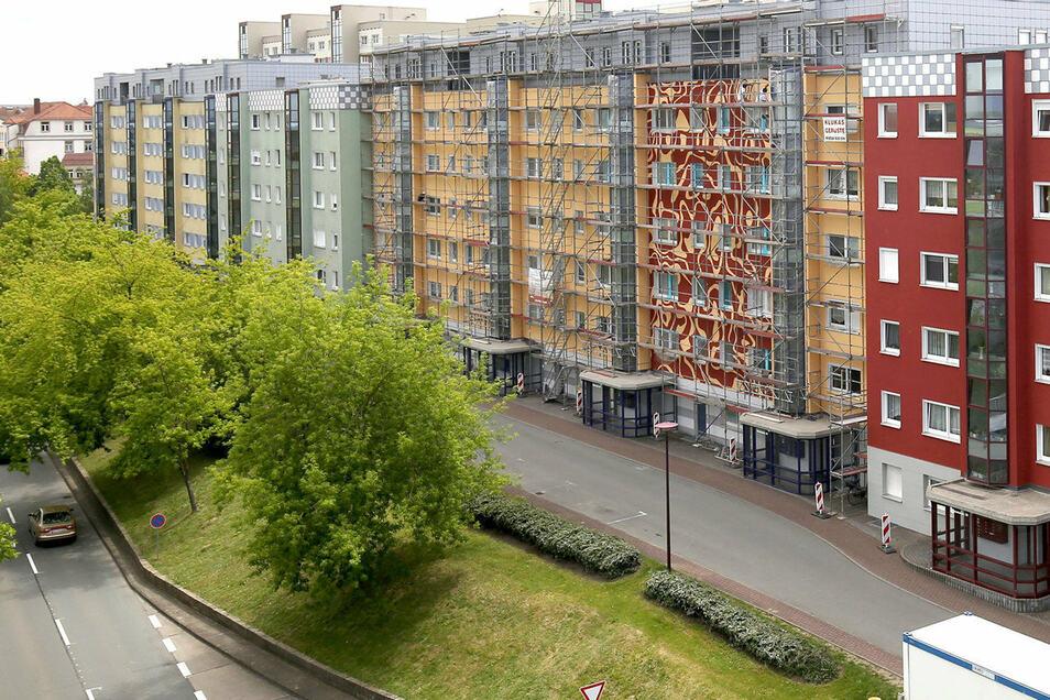 So sah die Baumreihe an der Bahnhofstraße im Mai 2019 aus, als das Hochhaus rechts gerade eine neue Fassadenbemalung erhielt - ein Blick aus Richtung Mercure.