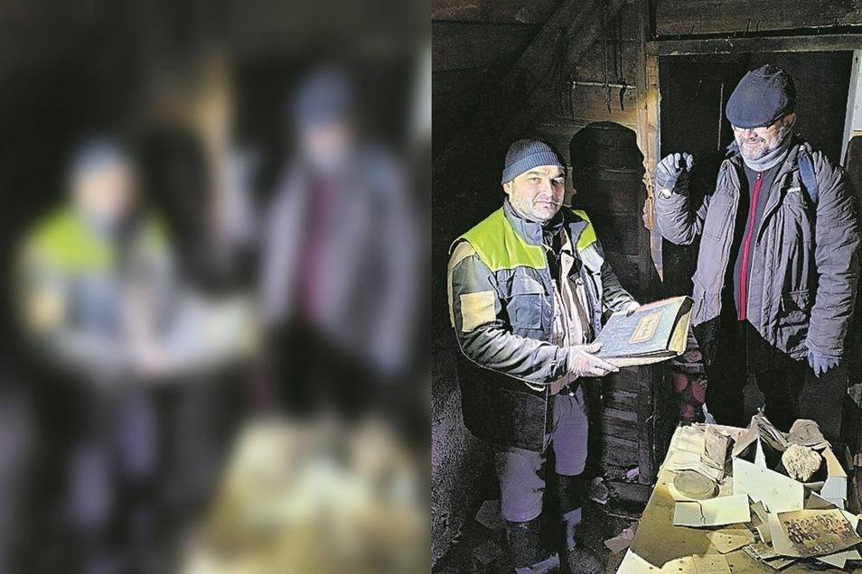 In einem Abrisshaus fanden Petr Brestovanský (links) und Jiøí Šolc wichtige Dokumente.