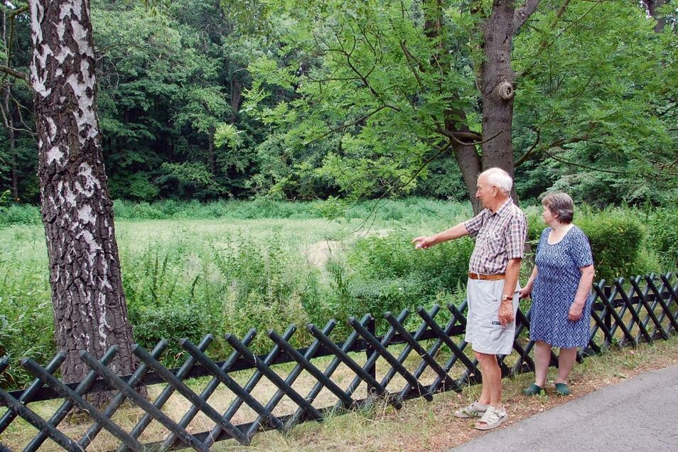 Helmut Richter und Elke Steinhardt vor dem ausgetrockneten Teich. Seit einigen Monaten fließt hier kein Wasser mehr rein. Ursache sei, dass ein Flutgraben zu tief ausgebaggert wurde.