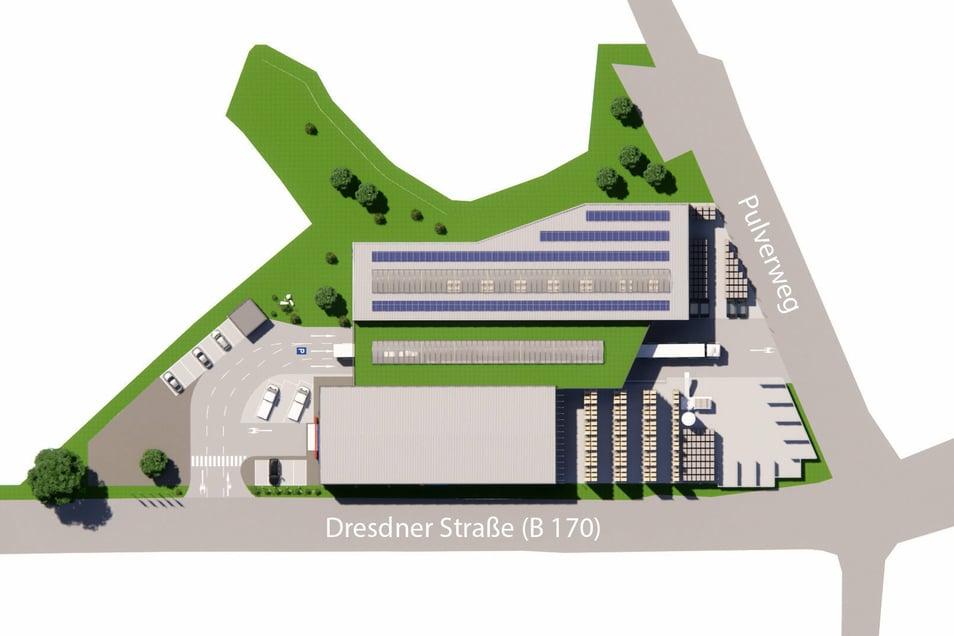 So soll nach derzeitigen Plänen der Neubau des Baustoffhandels Mobau Müller später aussehen.