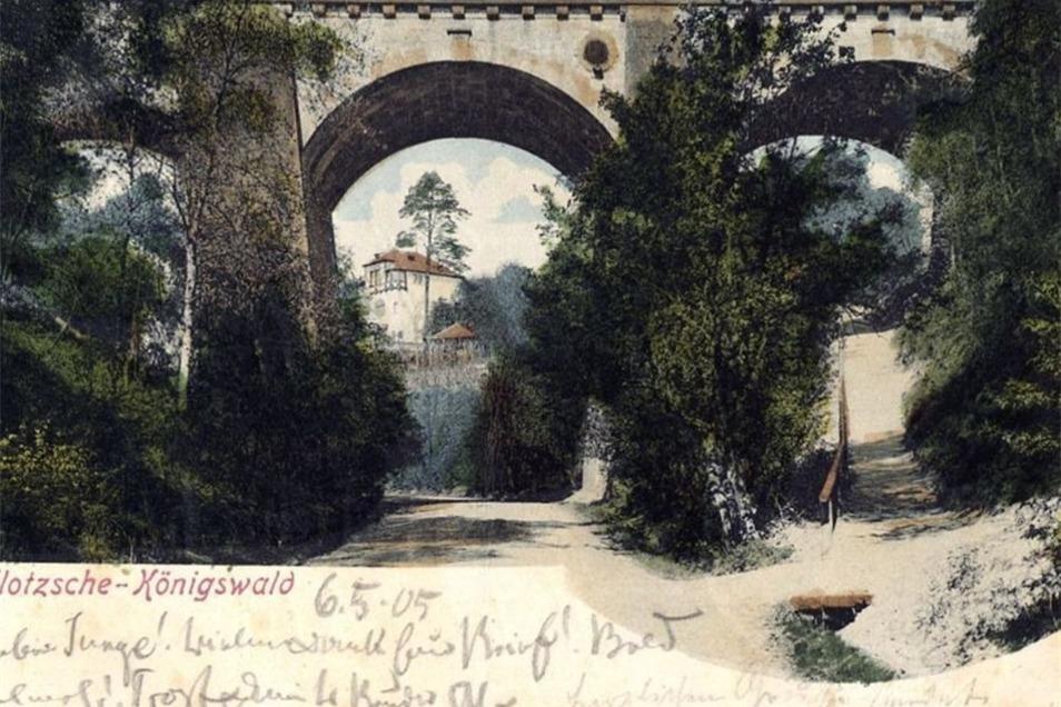 So sah die Brücke über dem wildromantischen Nesselgrund um 1905 aus. Fotografiert wurde sie von Hugo Engler und erschien auf einer Postkarte.