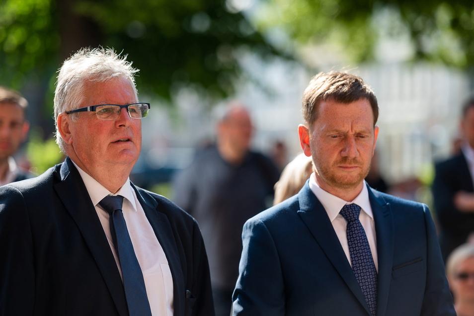 Landrat Bernd Lange und Ministerpräsident Michael Kretschmer jüngst in Görlitz. Beim Strukturwandel gehen ihre Ansichten auseinander.