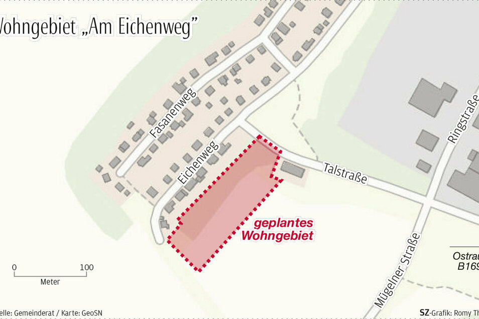 Für das geplante Wohngebiet am Eichenweg in Ostrau soll nun der Bebauungsplan erstellt werden.