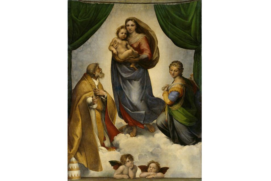 """Raffaels """"Sixtinische Madonna"""" von 1512/13 ist das berühmteste und beliebteste Gemälde der Dresdner Galerie."""