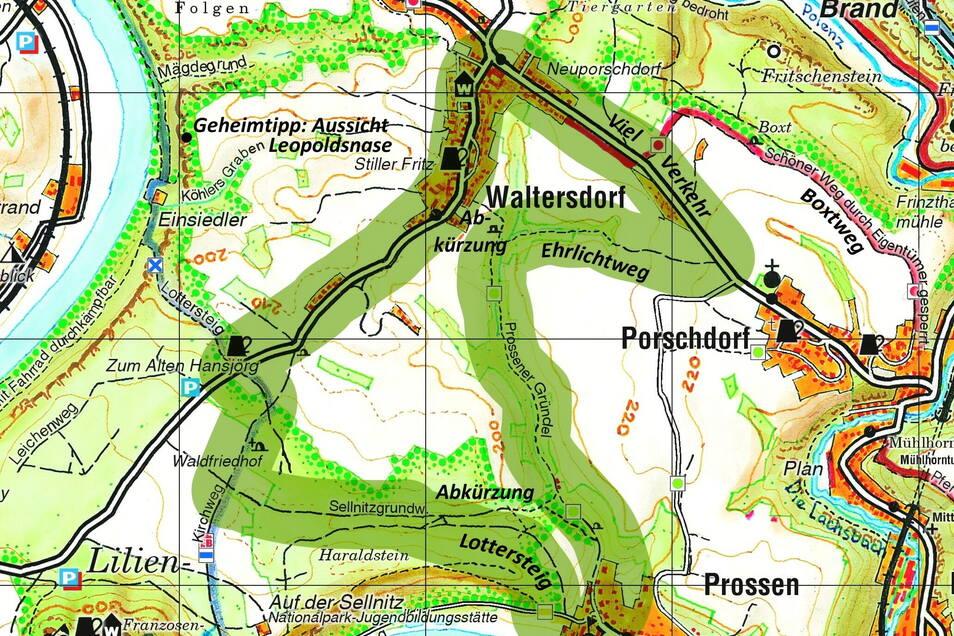 Große Karte der Sächsischen Schweiz.