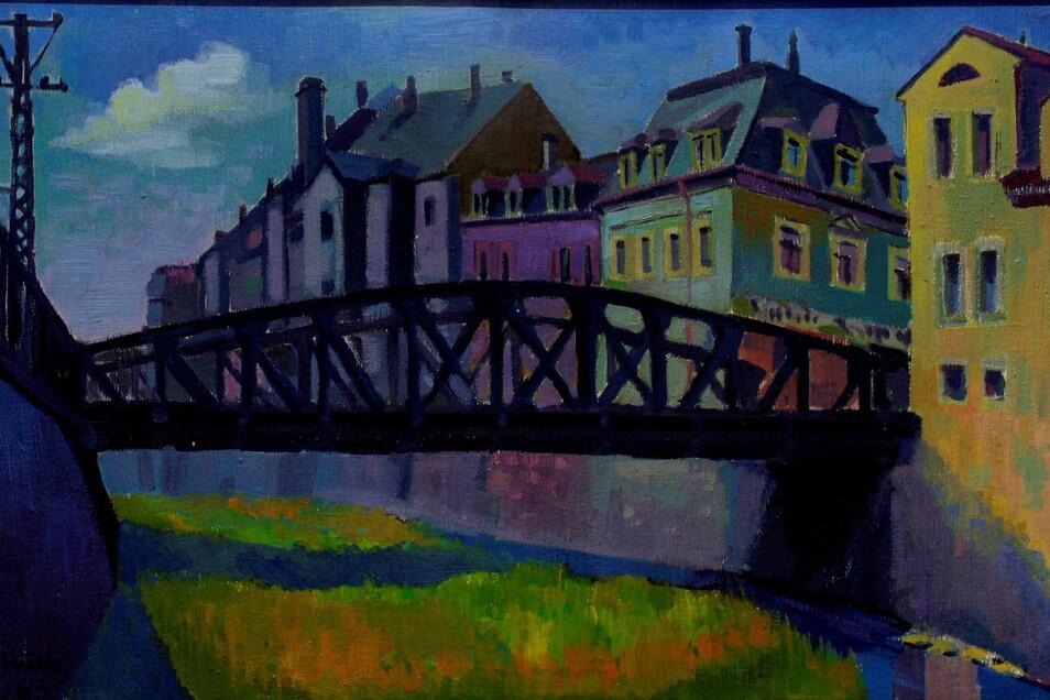 """1963 malte Siegfried Huth (1932 – 2012) die """"Alte Weißeritzbrücke in Potschappel""""."""