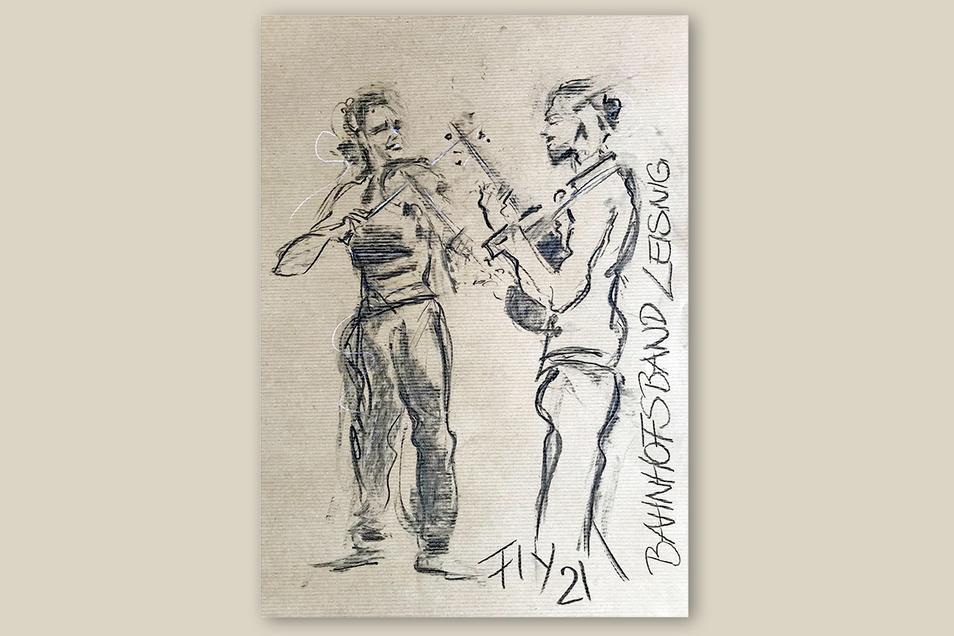 Solche Kohlezeichnungen möchte Petra Mittag auch am Samstag bei der Konzertausstellung zur Eröffnung des Musiksommers am Bahnhof Leisnig aufs Papier bringen.