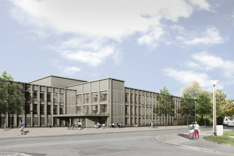 So soll die neue Schule am Schilfweg aussehen. Sie wird in Holzmodulbauweise errichtet.