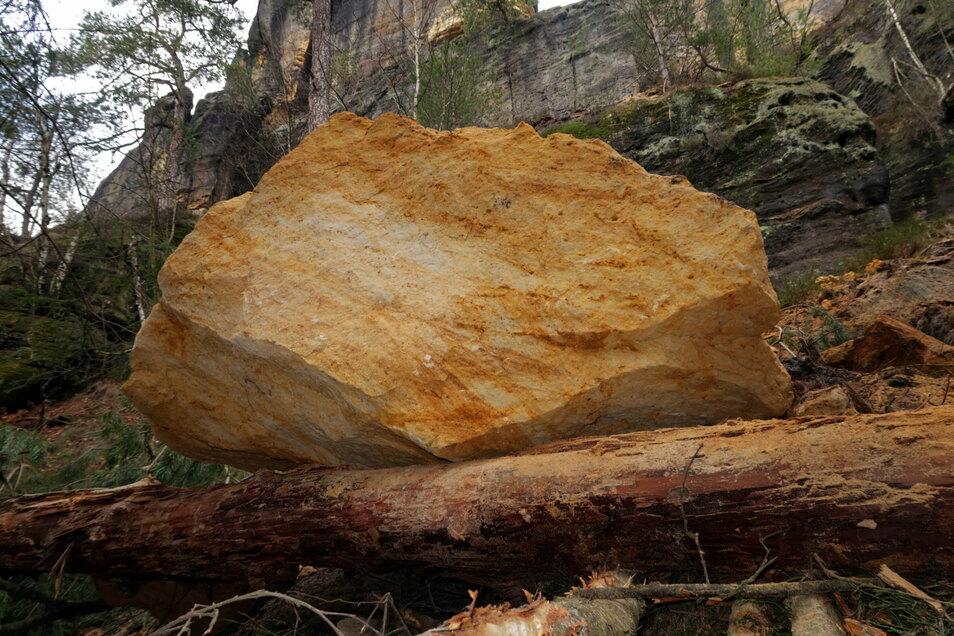 Abgestürzter Sandstein an den Schrammsteinen: Dieser Brocken oberhalb des Malerwegs wurde jetzt beräumt.