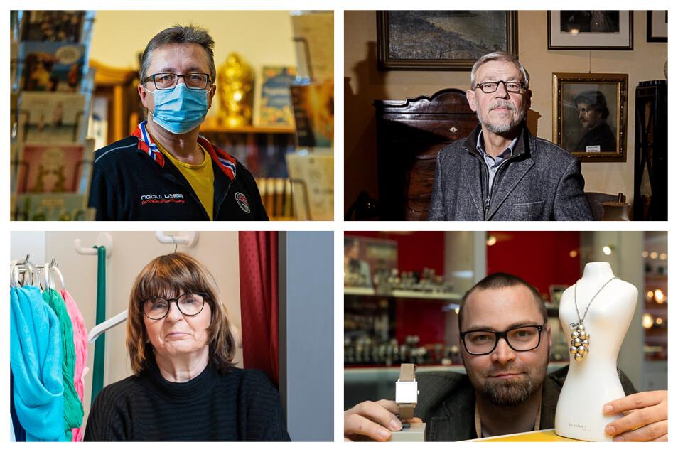 Hendrik Dietrich, Hans-Ulrich Leonhardt, Ute Rietzschel und Ivo Scholze haben Geschäfte in Dresden, Pirna, Görlitz und Bautzen. Für sie ist der Lockdown ein Kampf ums Überleben.