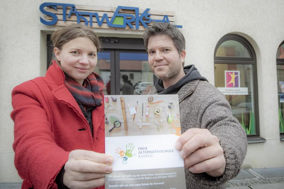 Theresa Vogel und Frank Jank gehören zur treibenden Kraft des neuen Vereines Freie Alternativschule Kamenz. Für Sonnabend, 16 Uhr, lädt dieser zur großen Info-Veranstaltung für alle Interessierten in die Räume der Stadtwerkstatt ein.