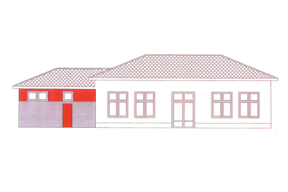 So soll das neue Bürgerhaus an Schlauroths Dorfteich aussehen. Links (farbig) das alte Teichhäusl, rechts der neue Anbau.
