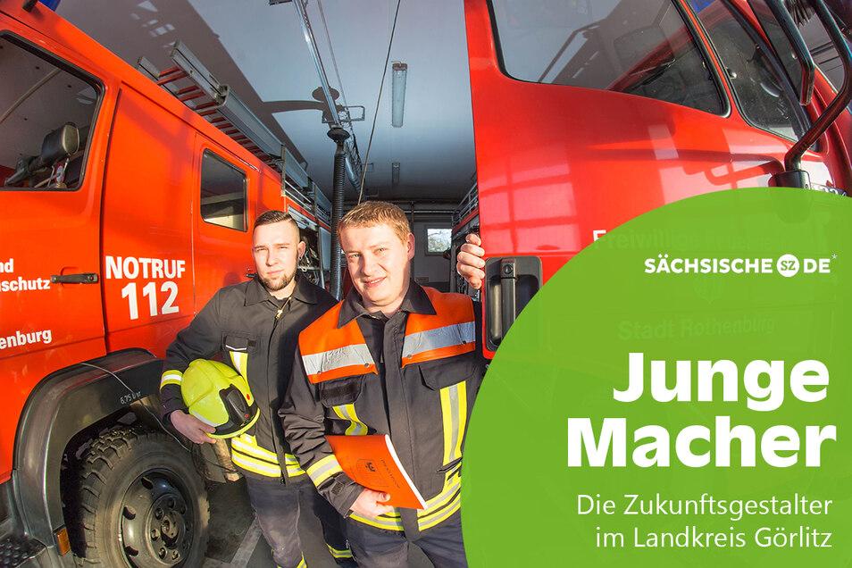 David Schwarz (rechts) und Eric Roitsch bilden die junge Führungscrew der Rothenburger Feuerwehr.