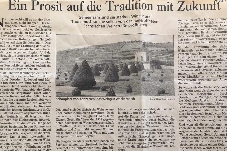 1992 schrieb Dorothea diesen Artikel über die Sächsische Weinstraße, die damals noch ganz neu war.