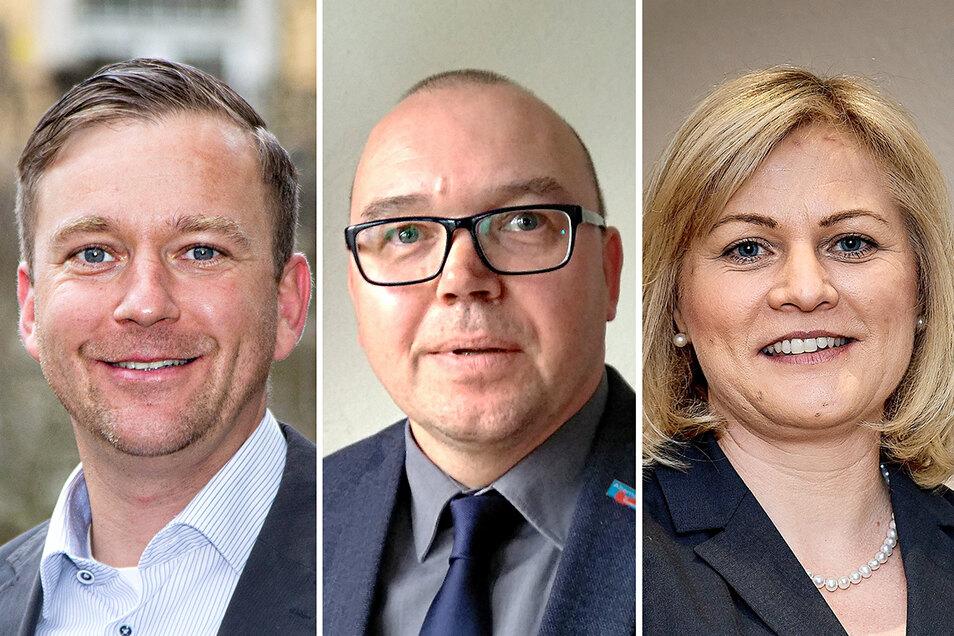 Sie wollen gewählt werden: Thomas Peters (CDU), Michael Ullmann (AfD), Madlen Rätze (parteilos).