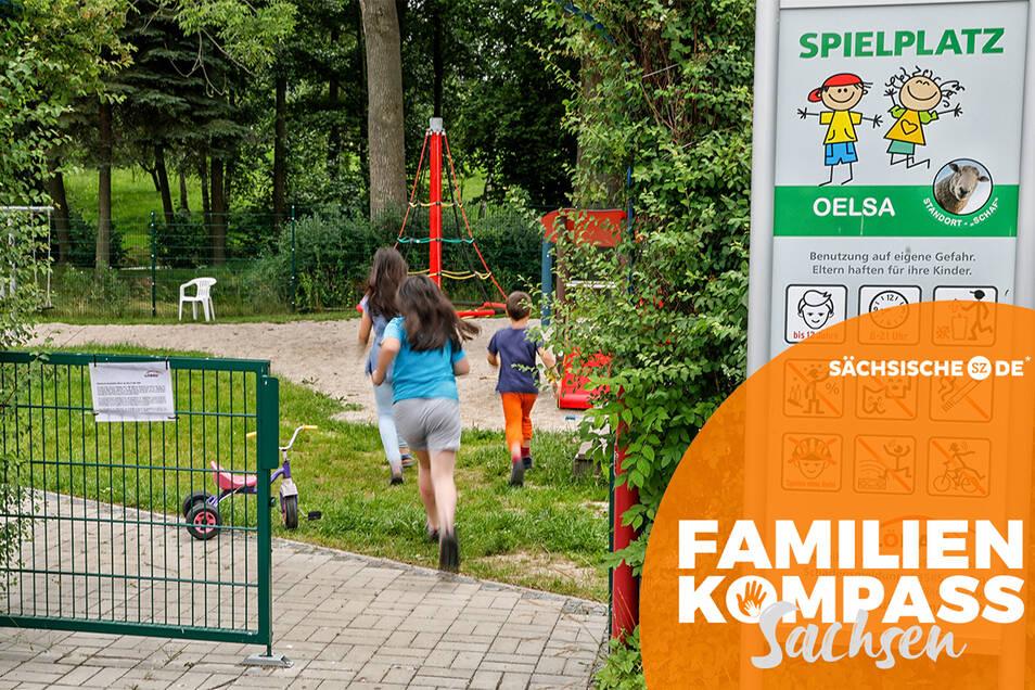 Der Spielplatz in Oelsa ist ein beliebter Treffpunkt im Ort. Die Stadt hat ihn voriges Jahr erneuert.