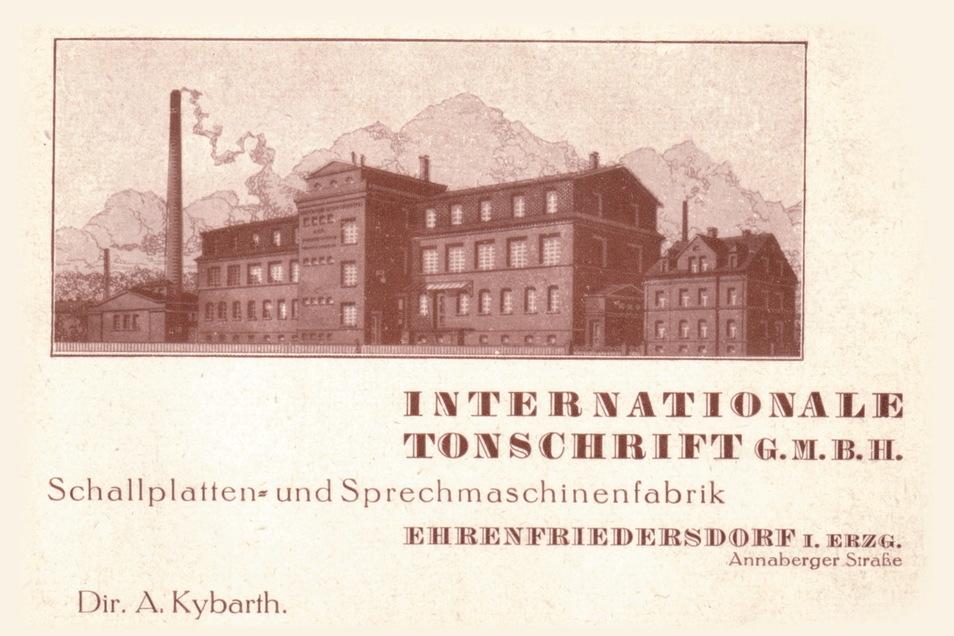 Werbe-Anzeige einer Schellackplatte:n-Firma aus dem Erzgebirge.