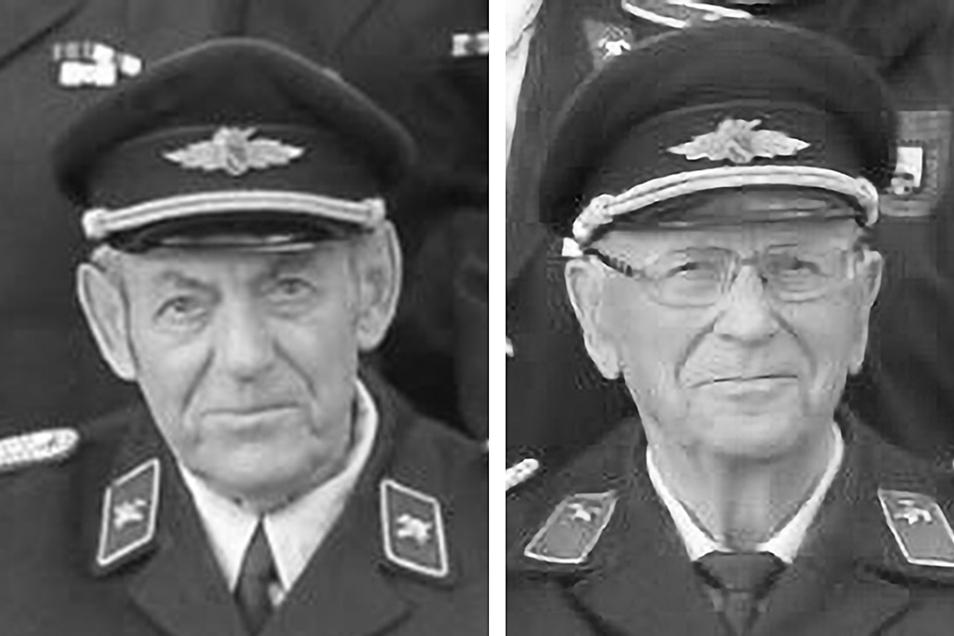 Brandmeister Herbert Fischer (li.) und Hauptbrandmeister Siegfried Köhler waren über viele Jahre Mitglieder der Reinhardtsgrimmaer Feuerwehr.