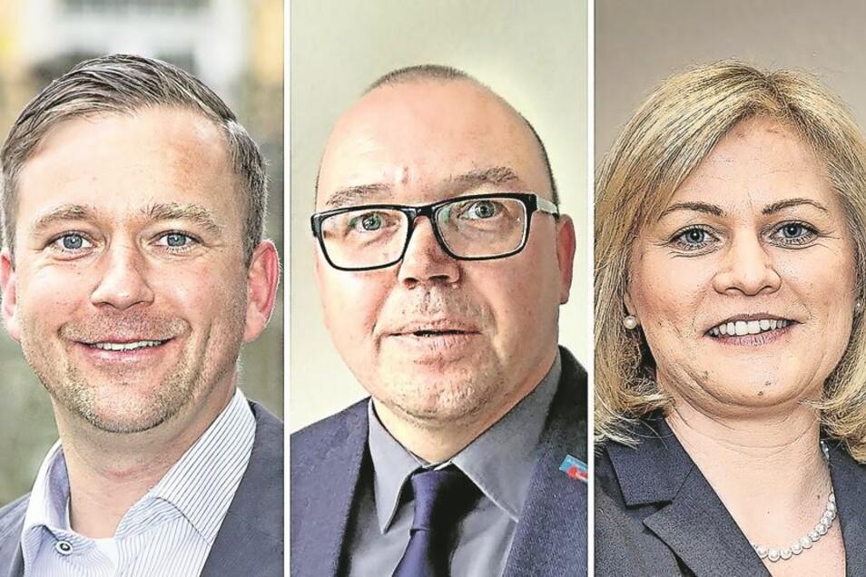 Thomas Peters (CDU), Michael Ullmann (AfD), Madlen Rätze (parteilos) v.l..