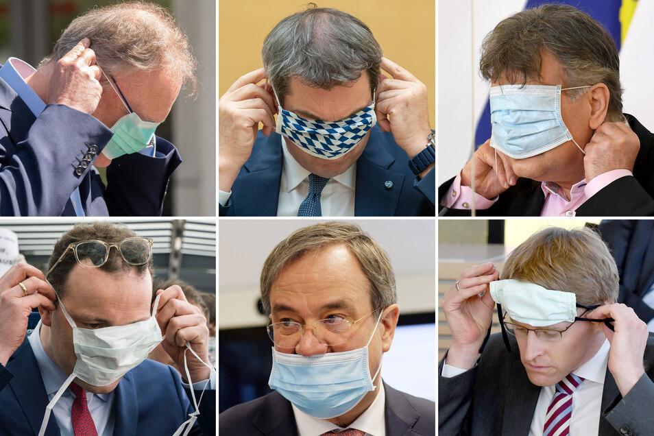 Wie geht das doch gleich mit dem Mundschutz? Auch Politiker haben damit so ihre Probleme.