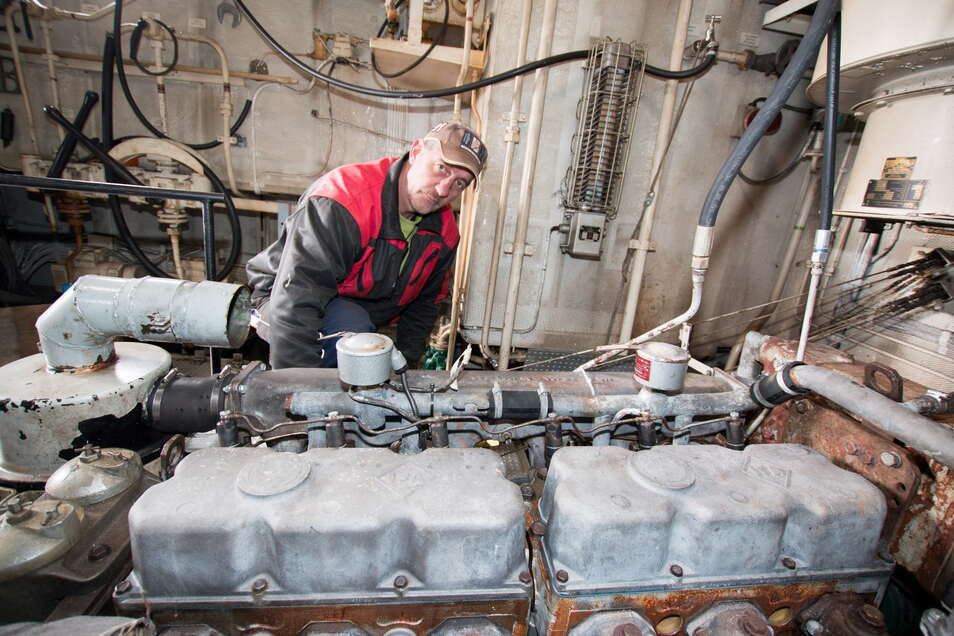 Auch unter Deck der MS Hainichen waren einige Instandhaltungsarbeiten erforderlich, damit die neue Saison ohne technische Ausfälle starten kann.