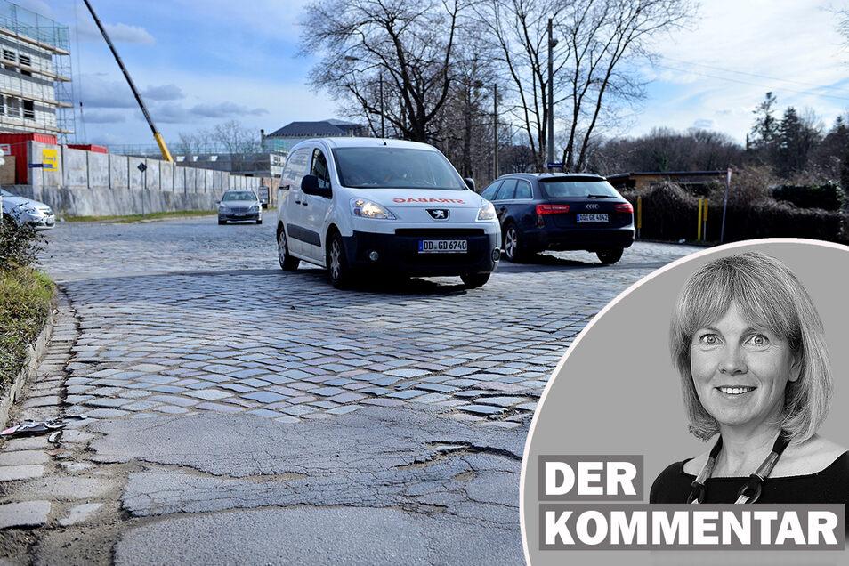 Der schlechte Fahrbahnbelag auf der Stauffenbergallee ist schon legendär - und eine echte Zumutung, nicht nur für Anwohner, findet SZ-Redakteurin Katrin Saft.