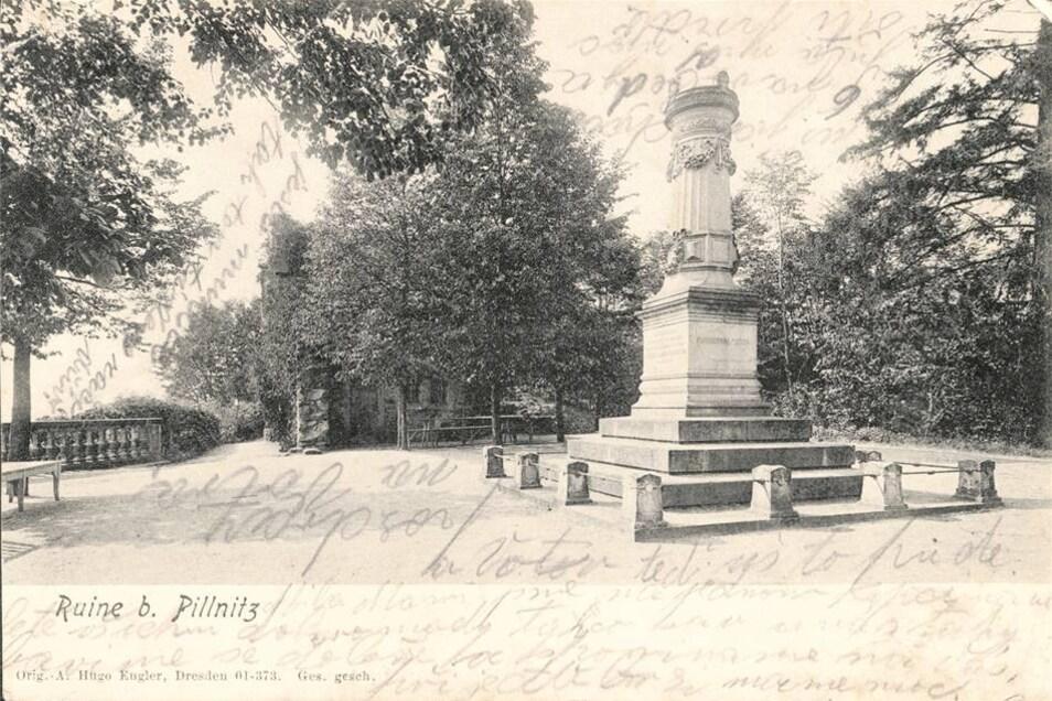 Die Ruine, aber auch das 1872 entstandene Denkmal zu Ehren des Königspaares Johann und Amalia Augusta von Sachsen waren beliebte Postkartenmotive. Hier eine Karte von 1900.