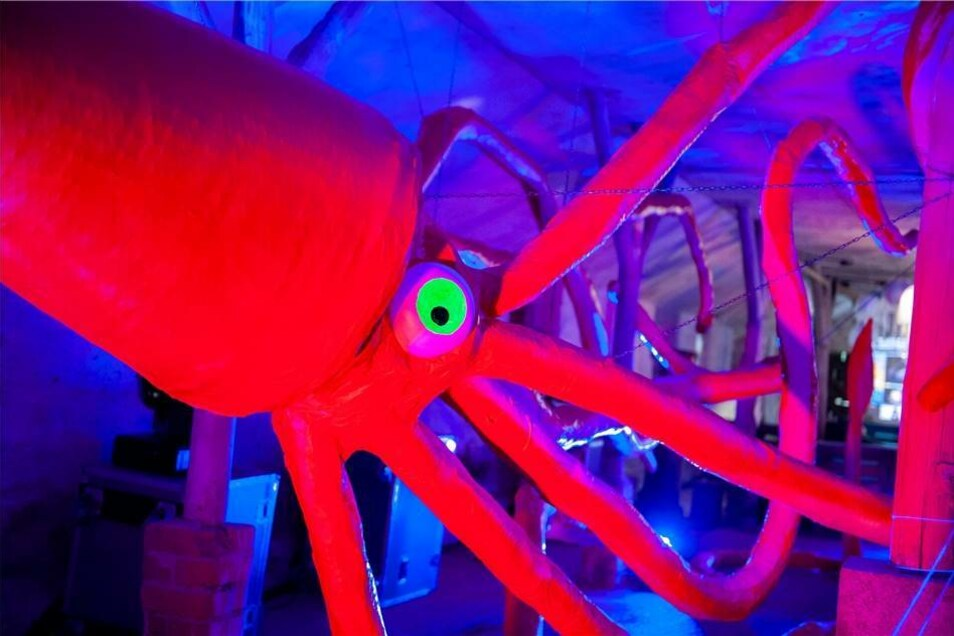 """Verspielt und scheinbar grenzenlos sind die Kunstprojekte des Festivals. Der knallrote Riesen-Calamaris ist einer der Farbtupfer in der """"Unterwasserwelt""""."""