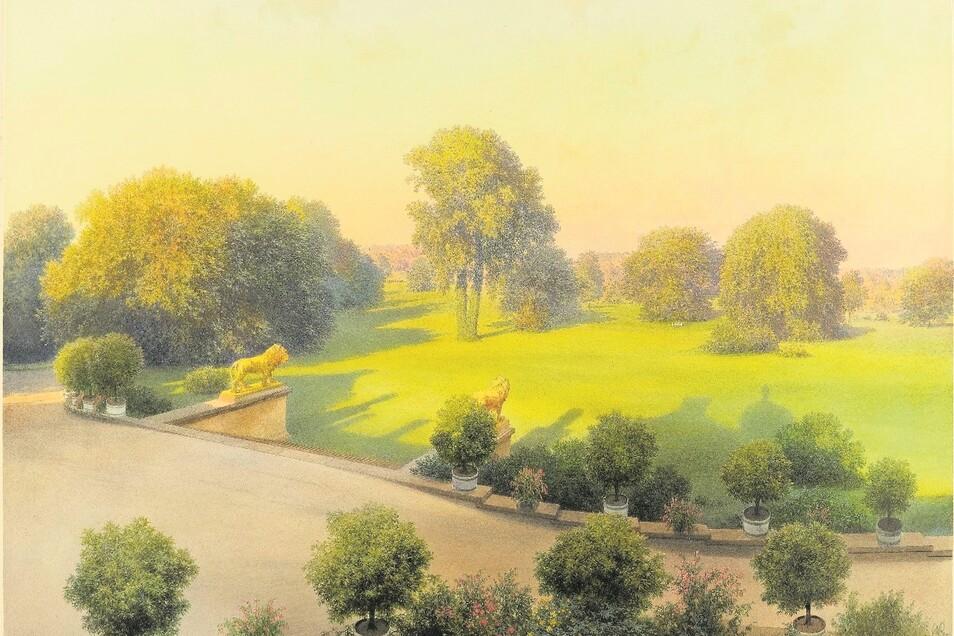 """Auch dieses Bild mit dem Titel """"Blick aus dem Südflügel des Schlosses auf die Schlossrampe mit den Löwen"""" von Carl Graeb wird in Bad Muskau gezeigt."""