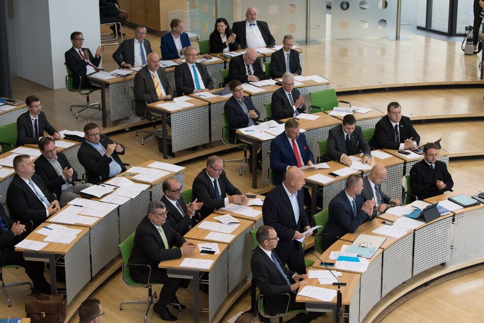 Die Abgeordneten der AfD Sachsen im Landtag in Dresden.