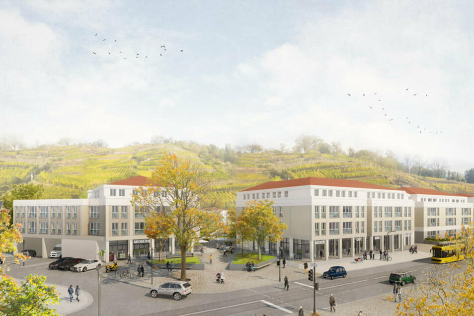 So soll es spätestens im Herbst 2022 an der Meißner Straße, Ecke Hauptstraße in Radebeul-Ost aussehen. Hier entsteht gerade das im Kreis Meißen größte Neubaugebiet auf dem ehemaligen Glasinvest-Areal.