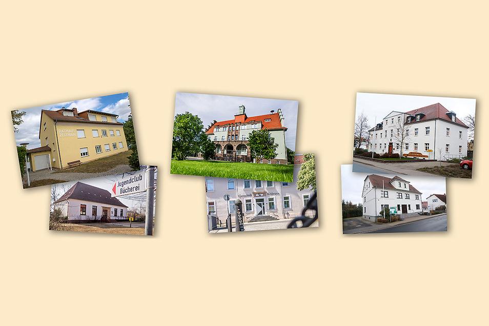 Noch hat jede dieser sechs Kommunen ihr eigenes Rathaus. Das könnte sich in den kommenden Jahren ändern. Ein Gutachten hält eine Fusion von Zeithain mit Wülknitz (l.), Gröditz mit der Röderaue (Mitte) und Nünchritz mit Glaubitz (r.) für ratsam.