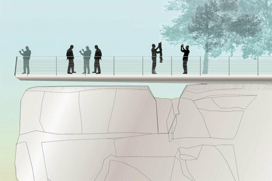 Das ist die Zukunft: Ein Betonsteg soll im vorderen Teil frei über dem brüchigen Fels schweben.