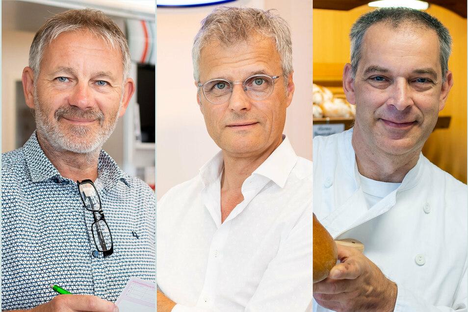 Sie behaupten sich seit 30 Jahren mit ihren Unternehmen erfolgreich in Bischofswerdat: Apotheker Rainer Klotsche, Optiker Michael Plüschke, Bäckermeister Steffen Haufe (v.l.)