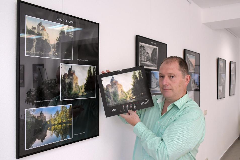 Ingo Ließke betreut in der Galerie der François Maher Presley Stiftung für Kunst und Kultur die neue Ausstellung mit einzigartigen Motiven aus der Zschopaustadt, die in einem Kalender vereint sind.