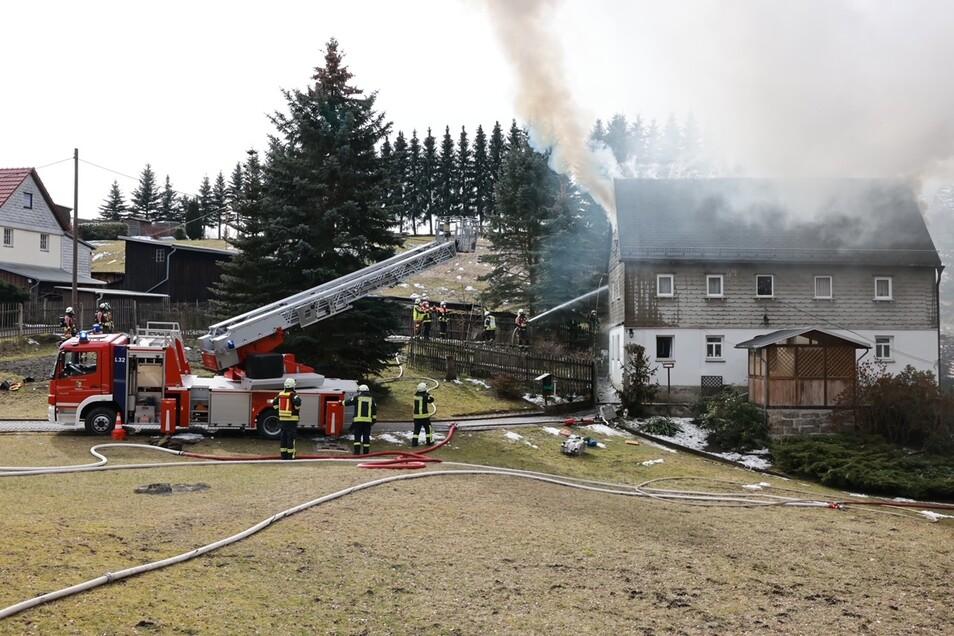 Mithilfe einer Drehleiter konnten die Feuerwehrleute das Feuer löschen.