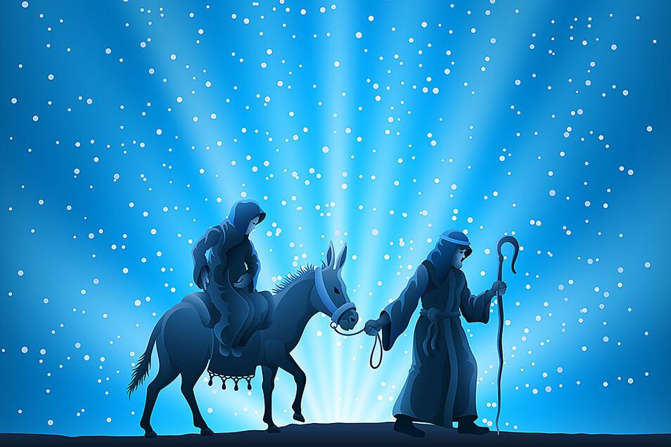 Maria und Josef auf der Flucht.