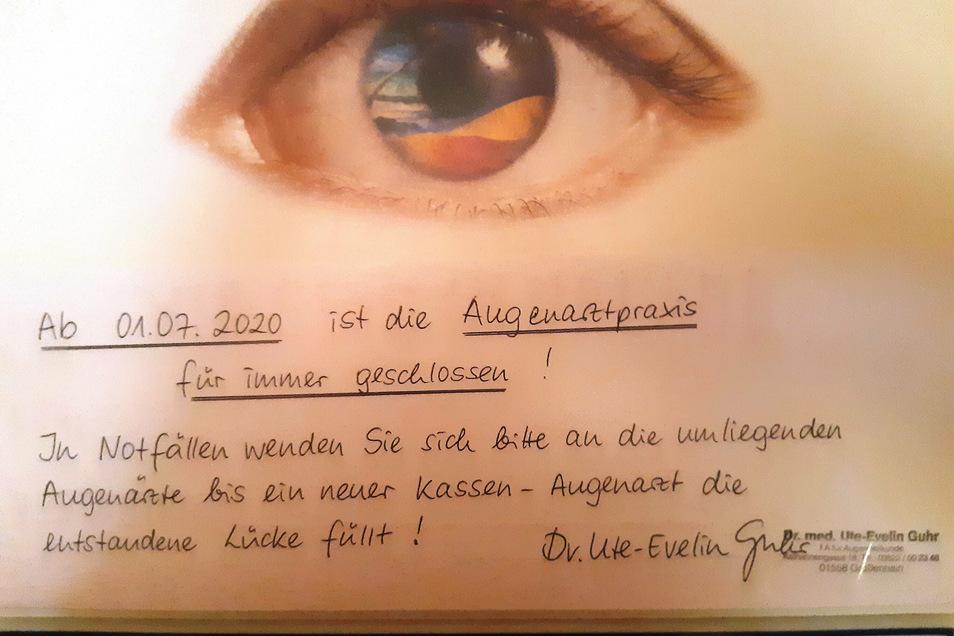 Seit 1. Juli ist die Augenarztpraxis von Frau Dr. Guhr geschlossen.