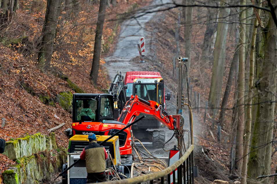 Bauarbeiten am Elberadweg zwischen Prossen und Halbestadt .