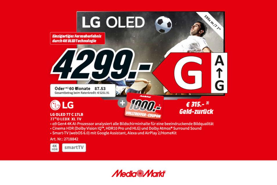 Der LG OLED 77 C17LB jetzt für 4.299€ + 1.000€ Volltreffer-Coupon