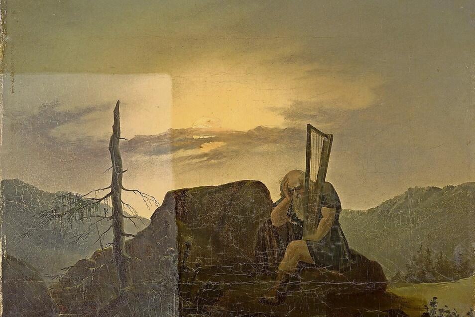 """Das Gemälde """"Alter Harfner"""" von Carl Gustav Carus – hier ein Zwischenzustand während der Restaurierung – soll demnächst im Albertinum zu sehen sein.  Albertinum"""