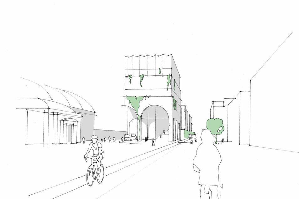 Eine erste Skizze: So könnte Dresdens neuer Fernbusbahnhof samt Fahrradparkhaus aussehen.