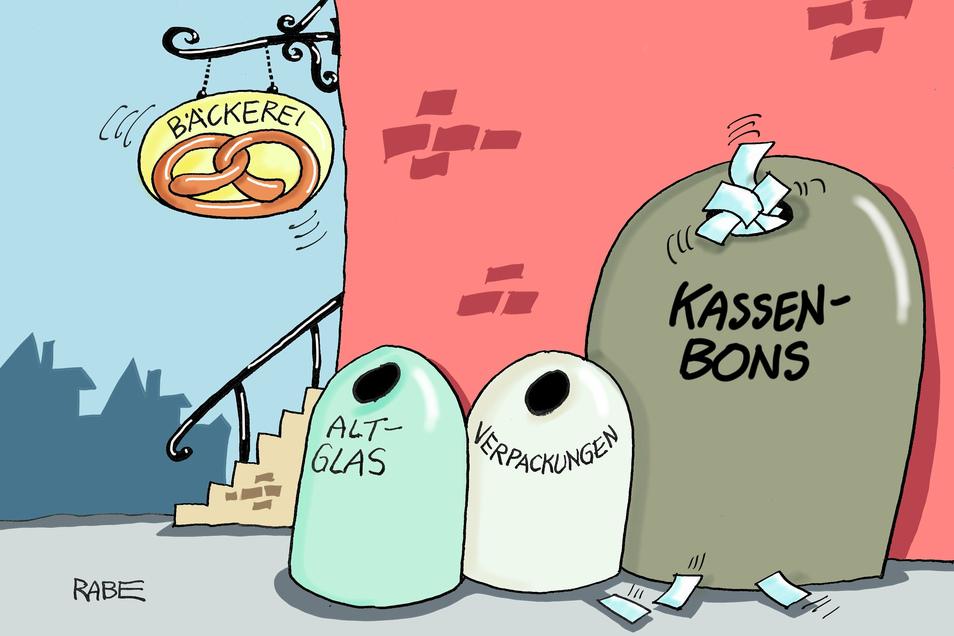 """Deutschsprachige Karikaturisten und Cartoonisten waren aufgerufen, ihre Arbeiten zum Thema """"Weniger ist mehr"""" einzureichen. Die hier nennt sich """"Kassenbons""""."""