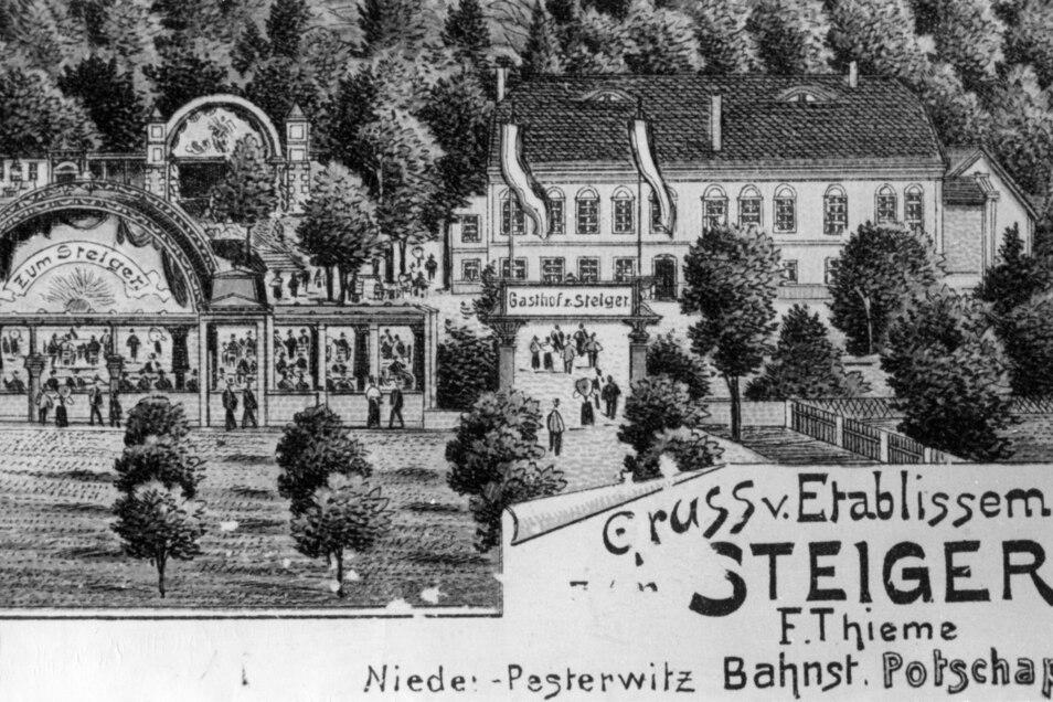 """Blick auf das Gasthaus zum """"Steiger"""" mit angrenzendem Gartenbetrieb. Auf dem Vorfeld der 1801 gegründeten Einkehr fand jahrzentelang die größte Vogelwiese in unserer Gegend statt. Zum Rummel 1911, auf dem wieder 100 Schausteller vertreten waren, ba"""
