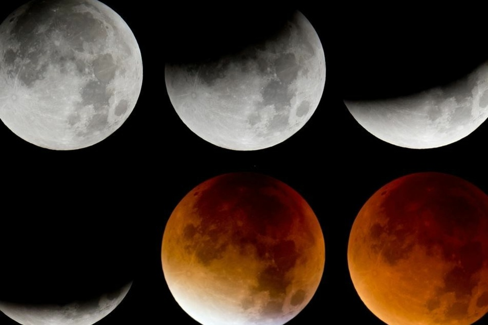 Die totale Mondfinsternis verläuft in verschiedenen Phasen.