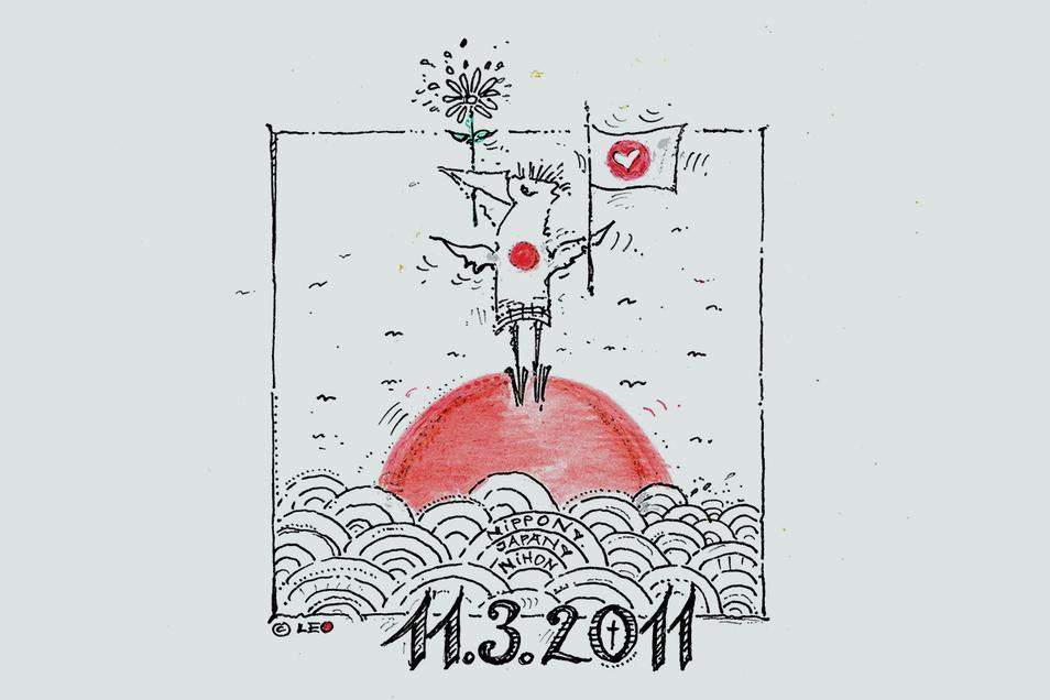 Mit dieser Zeichnung erinnert der Künstler Kay Leonhardt an die Katastrophe von vor zehn Jahren.