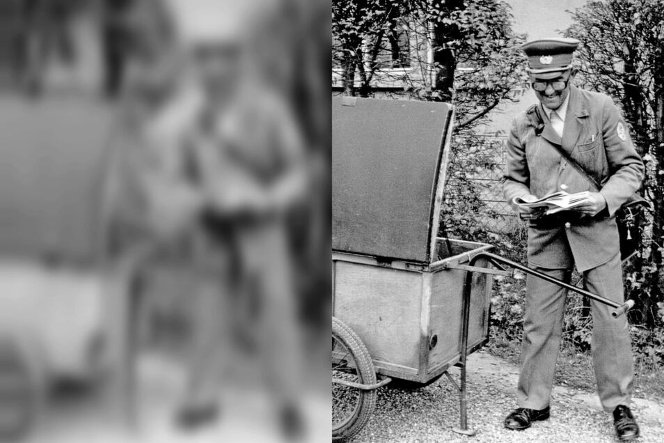 Die Zusteller der Deutschen Post der DDR hatten viele Sendungen zu schleppen, denn sie brachten ab den 1960er Jahren auch Zeitungen in die Haushalte. Fahrbare Transportkarren waren da bereits eine Erleichterung. Zuvor gab's bepackte Schultertaschen.