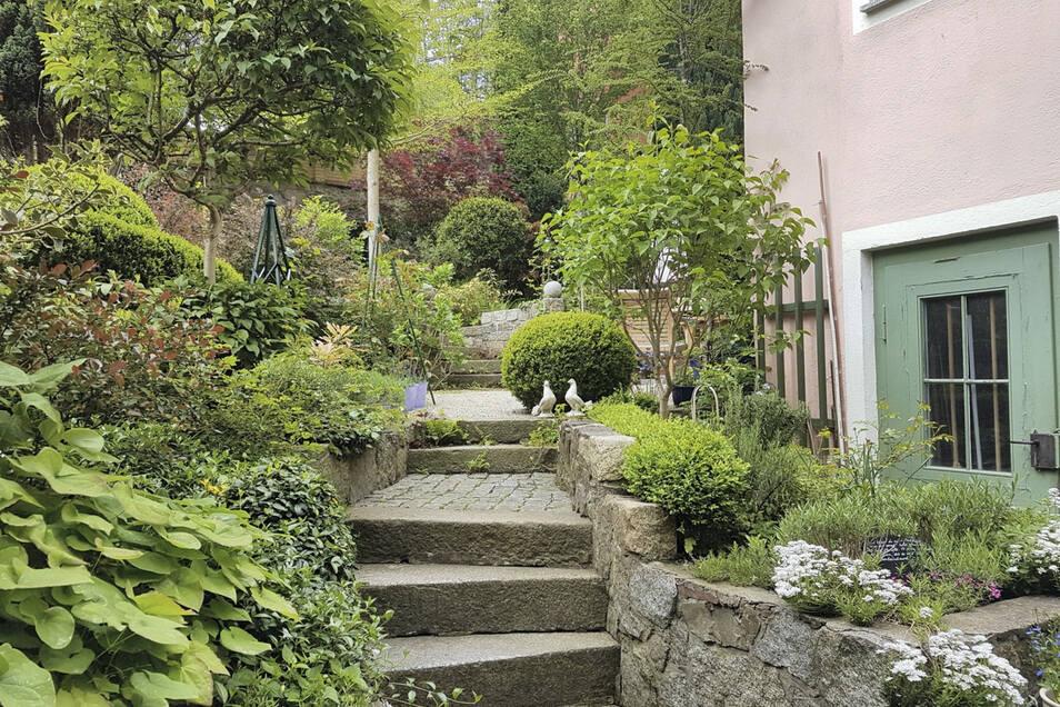 Leicht geschwungene Granitwege schlängeln sich durch den Hang-Garten. Im Sommer blüht es hier noch mehr.