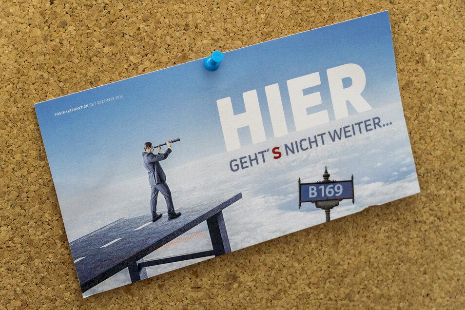 Mit dieser Postkarte wirbt das Vereinigte Wirtschaftsforum Region Riesa derzeit wieder für den Ausbau der B 169 in Richtung der Autobahn A 14 bei Döbeln.
