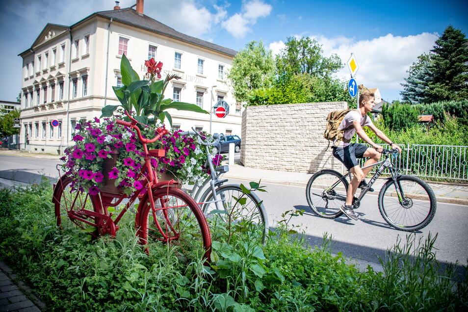 Dieses mit Blumen geschmückte Doppelrad steht in Roßwein an der Ecke Döbelner/Untere Weinbergstraße. Passanten schauen da gern ein zweites und drittes Mal hin. Dank pfiffiger Helfer konnte Bauhofchefin Monika Weigel ihre Idee verwirklichen.